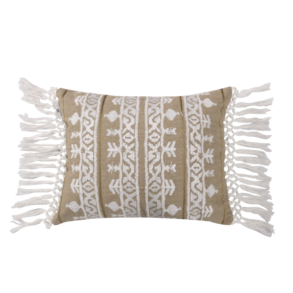 Aster Thick Stitch White and Gold Fringe Pillow