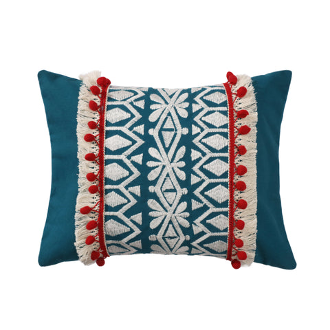 Aubrie Navy Embroidered Pompom Fringe Pillow