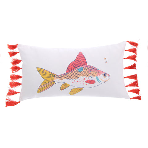 Barrier Reef Fish with Tassels Pillow