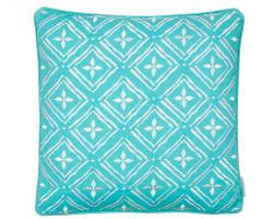 Biscayne Geo Teal/White Embroidered Pillow