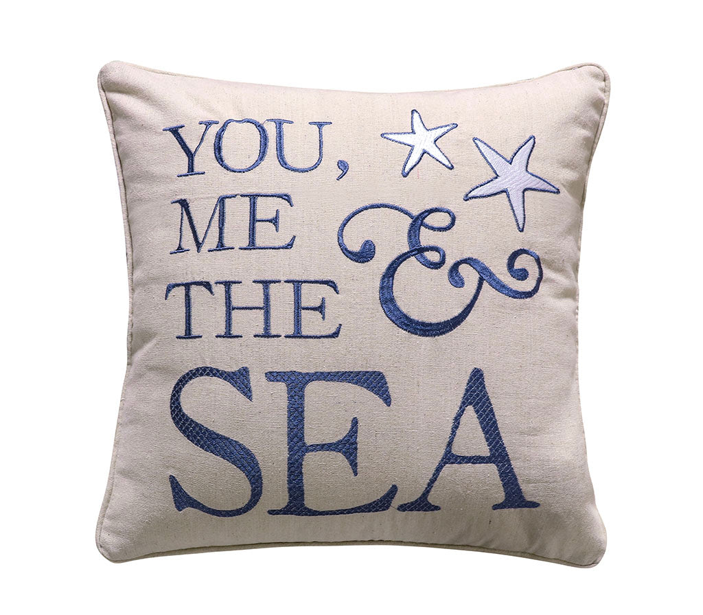 Blue Bay You, Me & The Sea Pillow