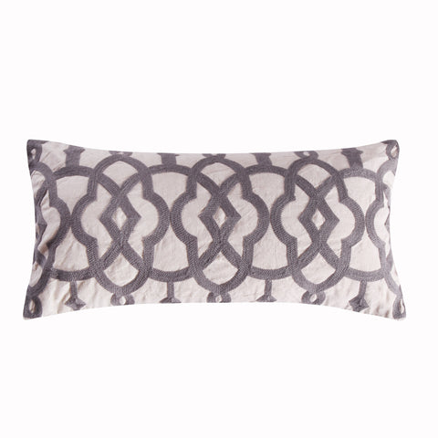 Bondi Stripe Grey Crewel Stitch Linen Pillow