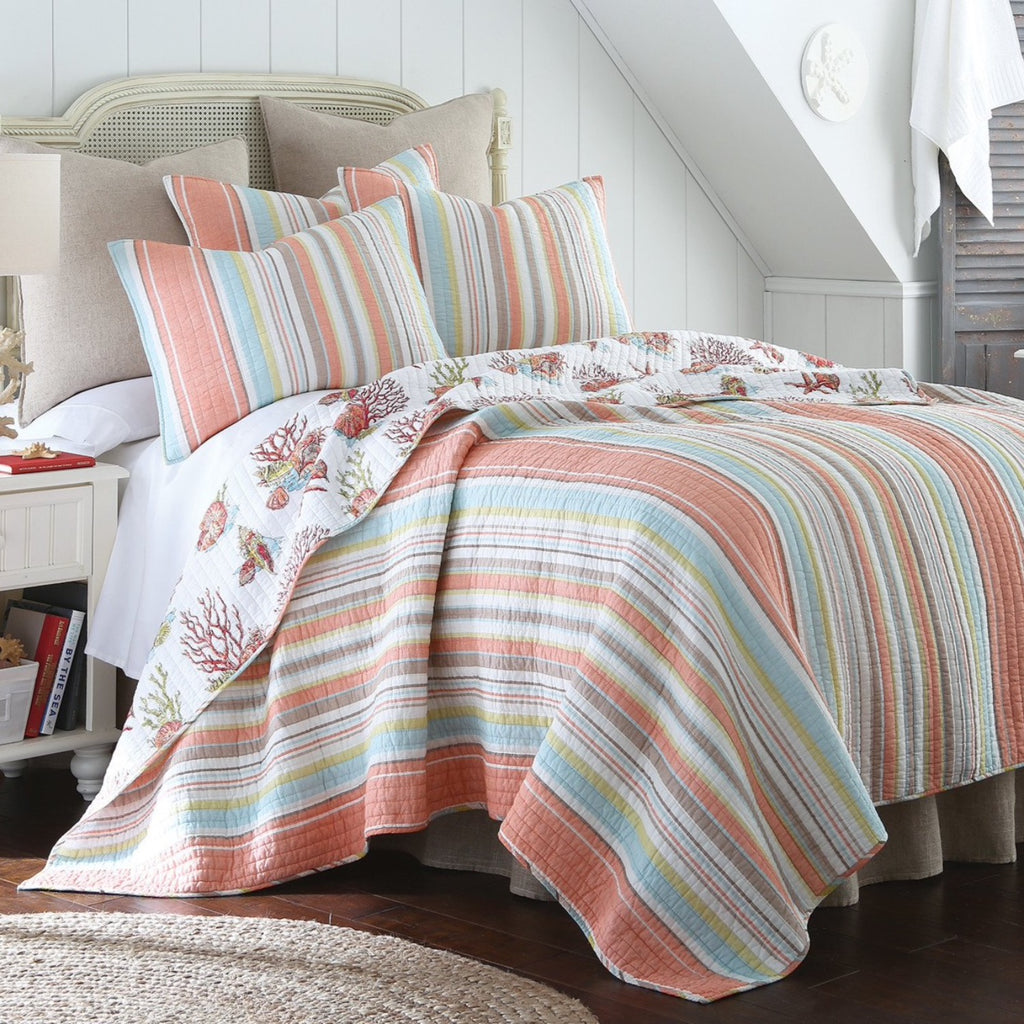 lovely Levtex Home Quilt Set Part - 11: Brighton Coral Quilt Set