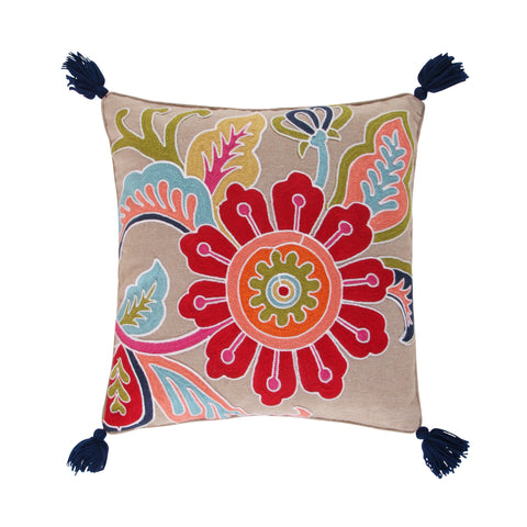 Jules Crewel Flower Tassel Pillow
