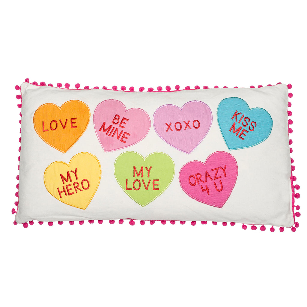 Candy Hearts 12x24 Pillow With Pom Poms