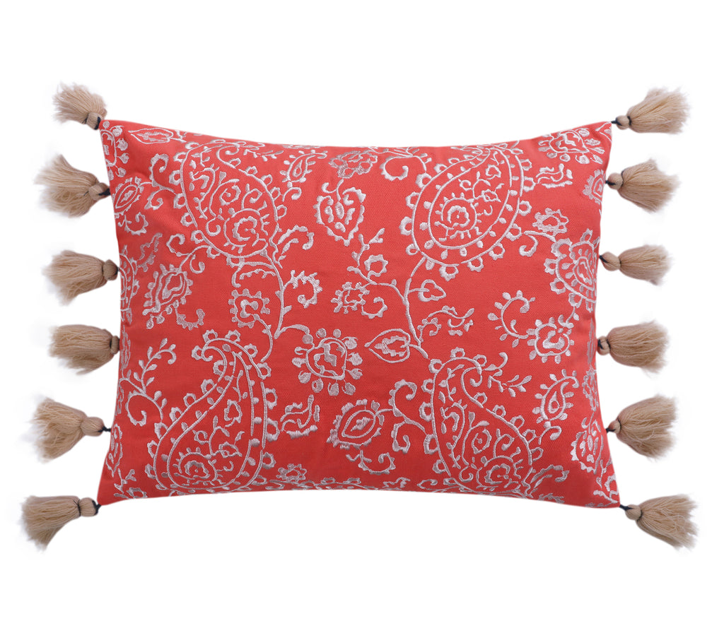Caperoad Embroidered Pillow with Tassels