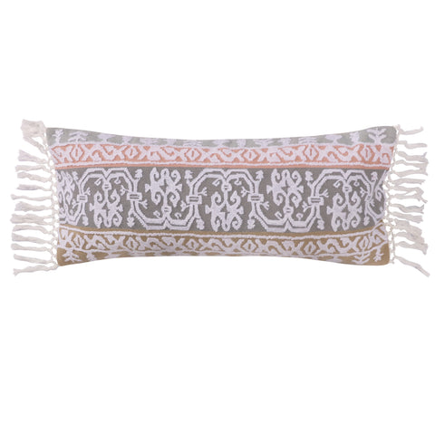 Carina Stripe Pieced Crewel Stitch Fringe Pillow