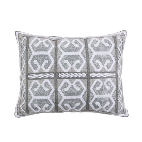 Carlisle Grey Crewel with Metallic Pillow