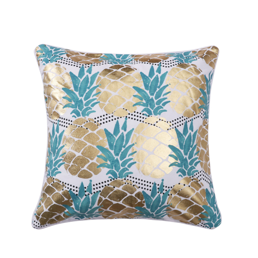Carmen Printed Chevron Dot Metallic Gold Pineapple Pillow