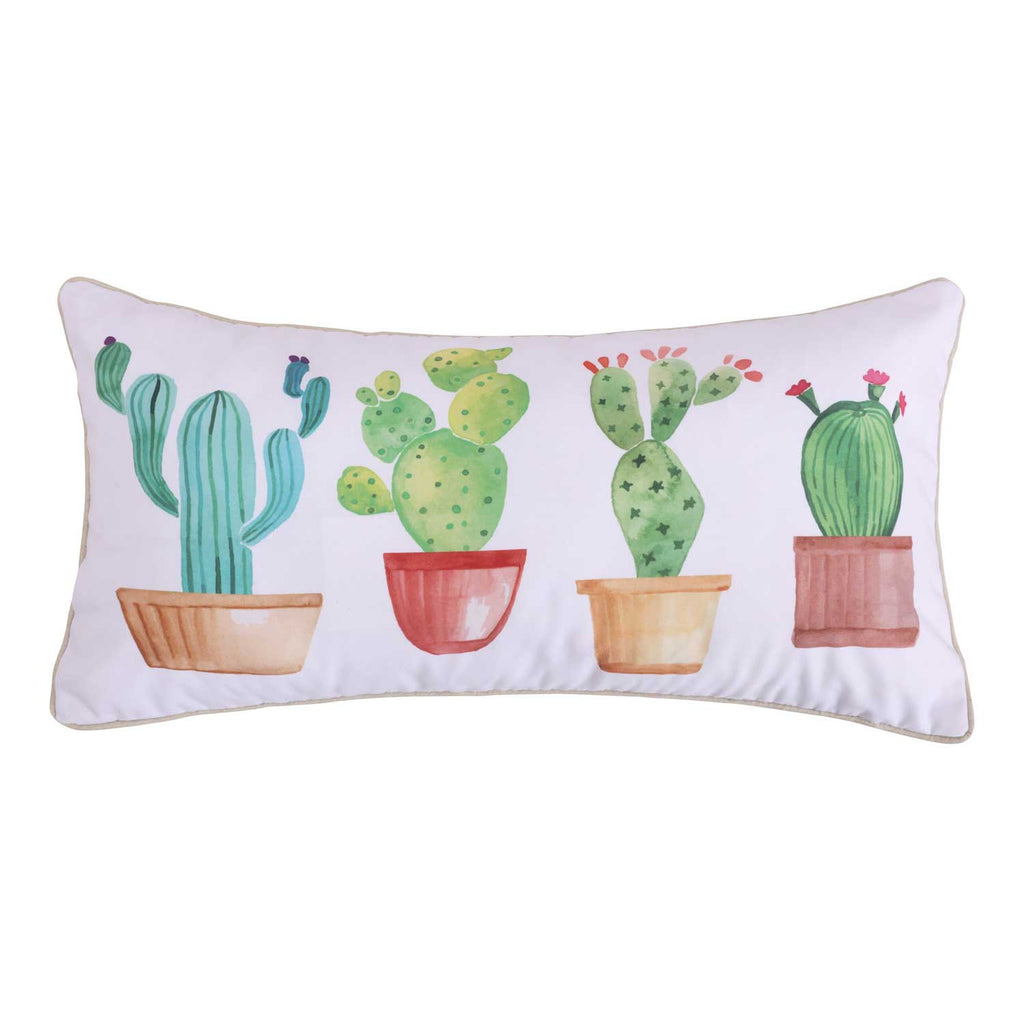 Casita White Cactus Pillow