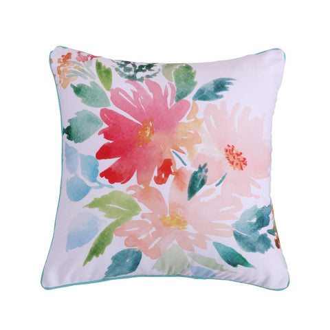 Casita White Printed Floral Pillow