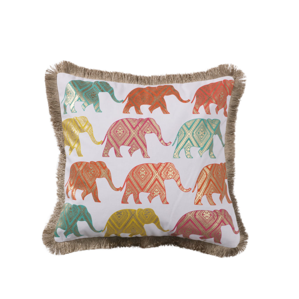 Casita White Multi Elephants Pillow