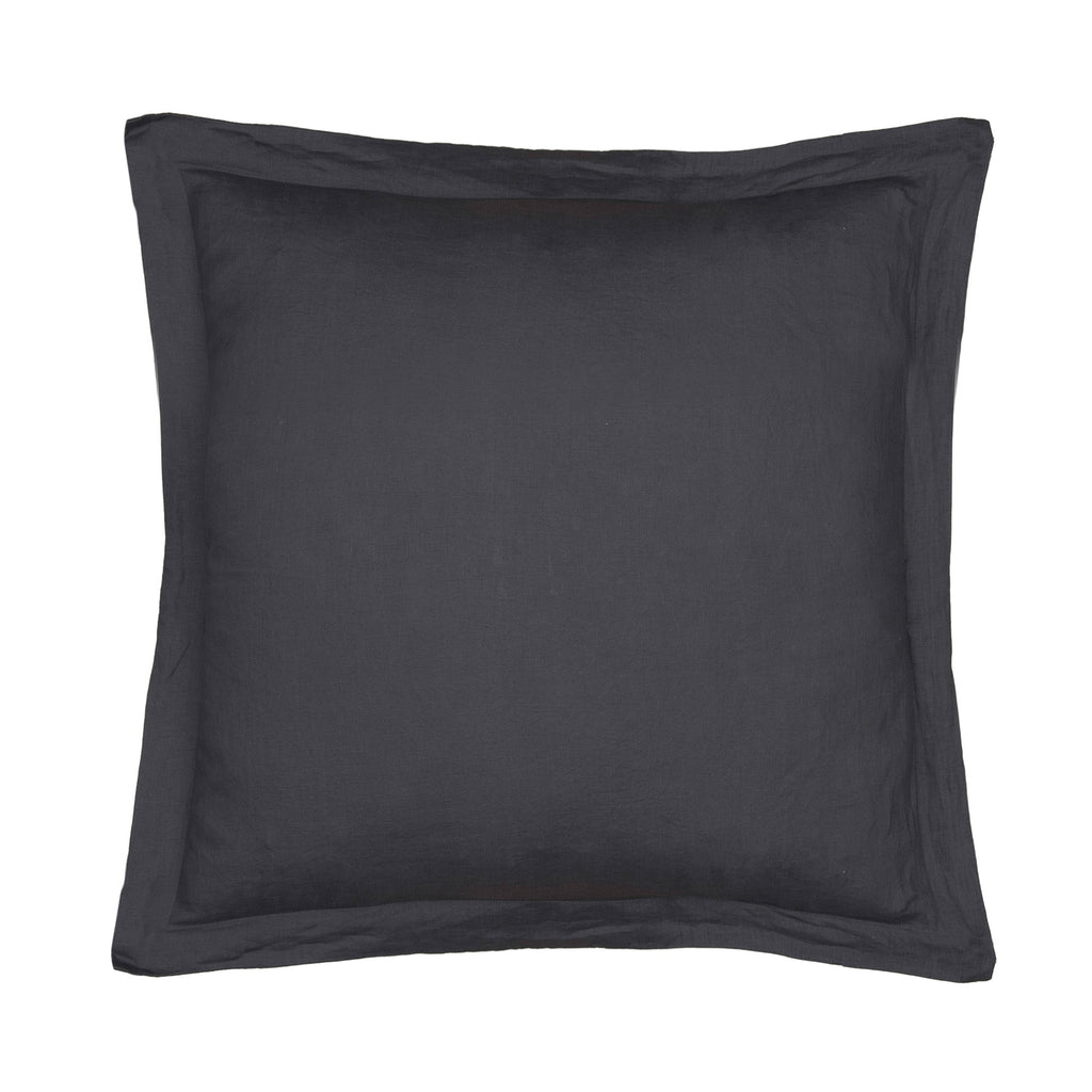 Washed Linen Charcoal Euro Sham w Flange