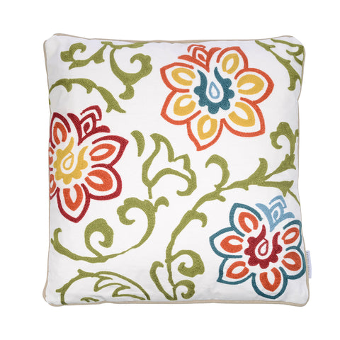Clementine Embroidered Floral Pillow