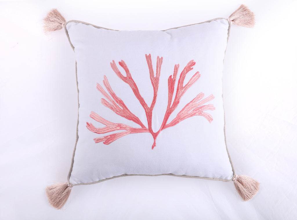 Embroidered Coral with Tassels Pillow