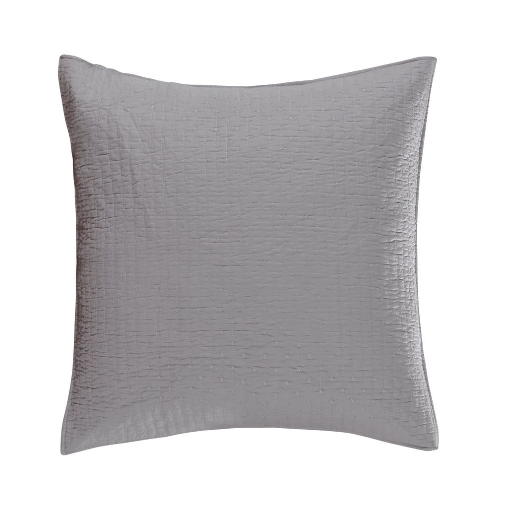 Cross Stitch Lt Grey Euro Sham Set of 2
