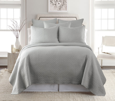 Cross Stitch Lt Grey Quilt Set