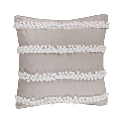 Pom Poms on Burlap Pillow