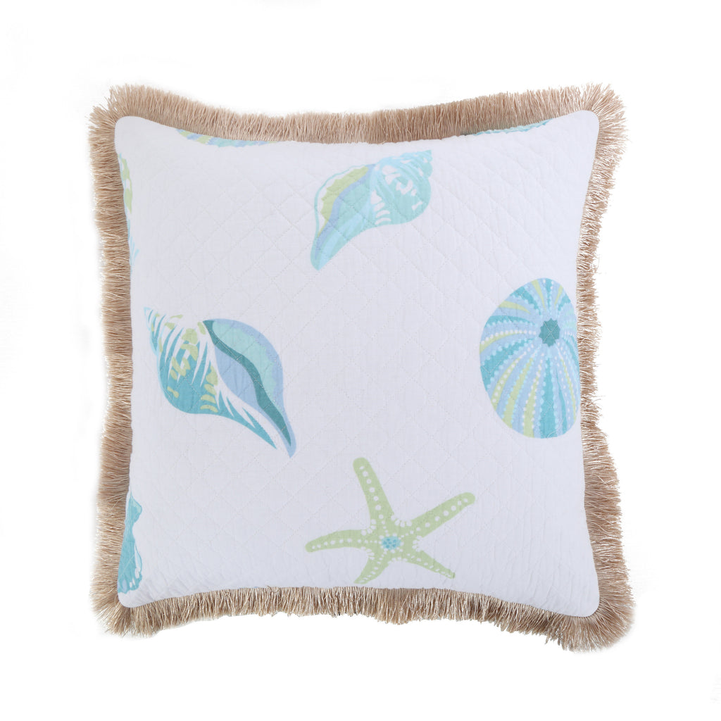 Del Ray Shell Burlap fringe Pillow