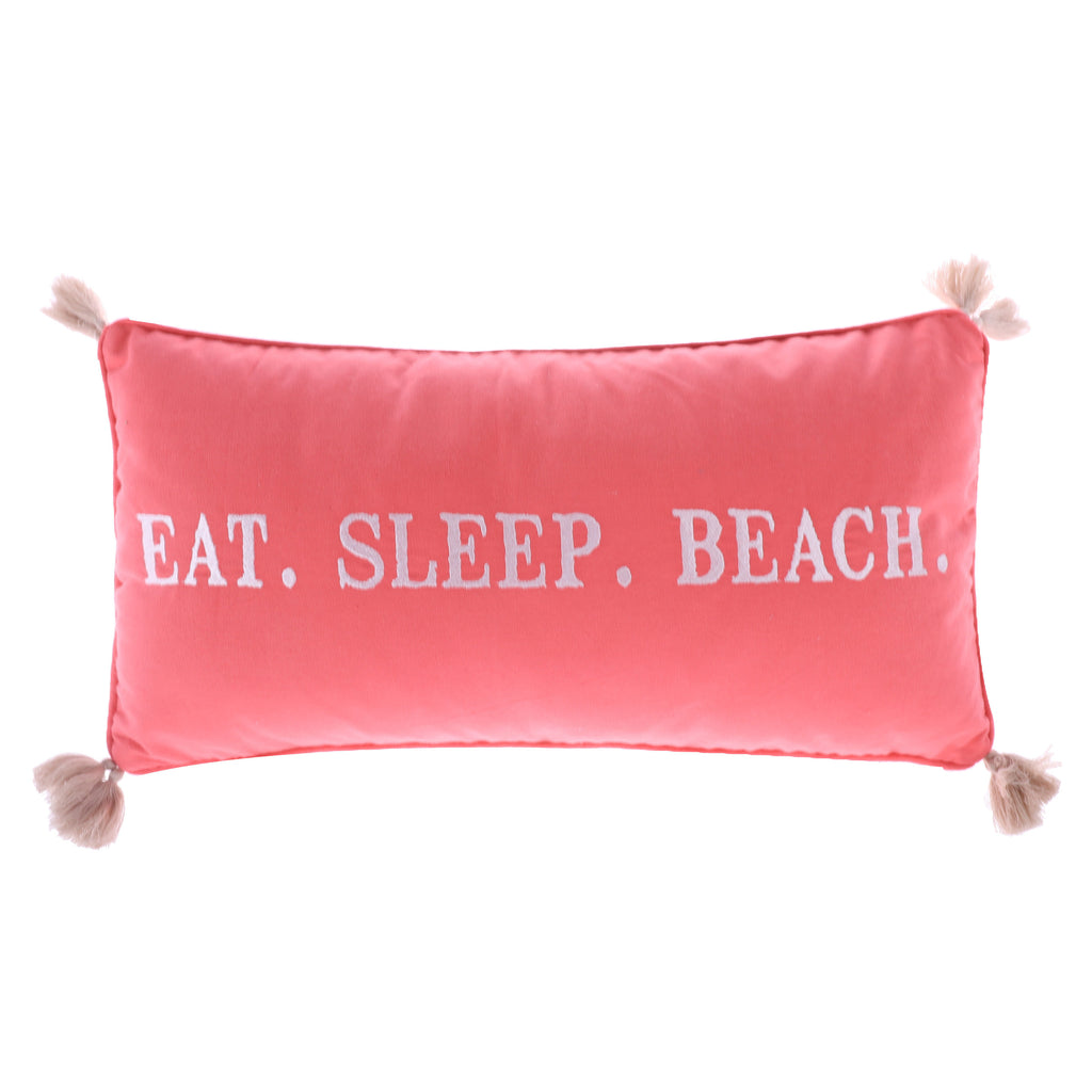 Coral Eat Sleep Beach Pillow