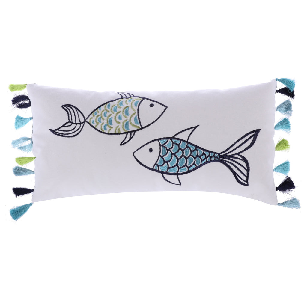 EmbroideredFish with Tassels Pillow