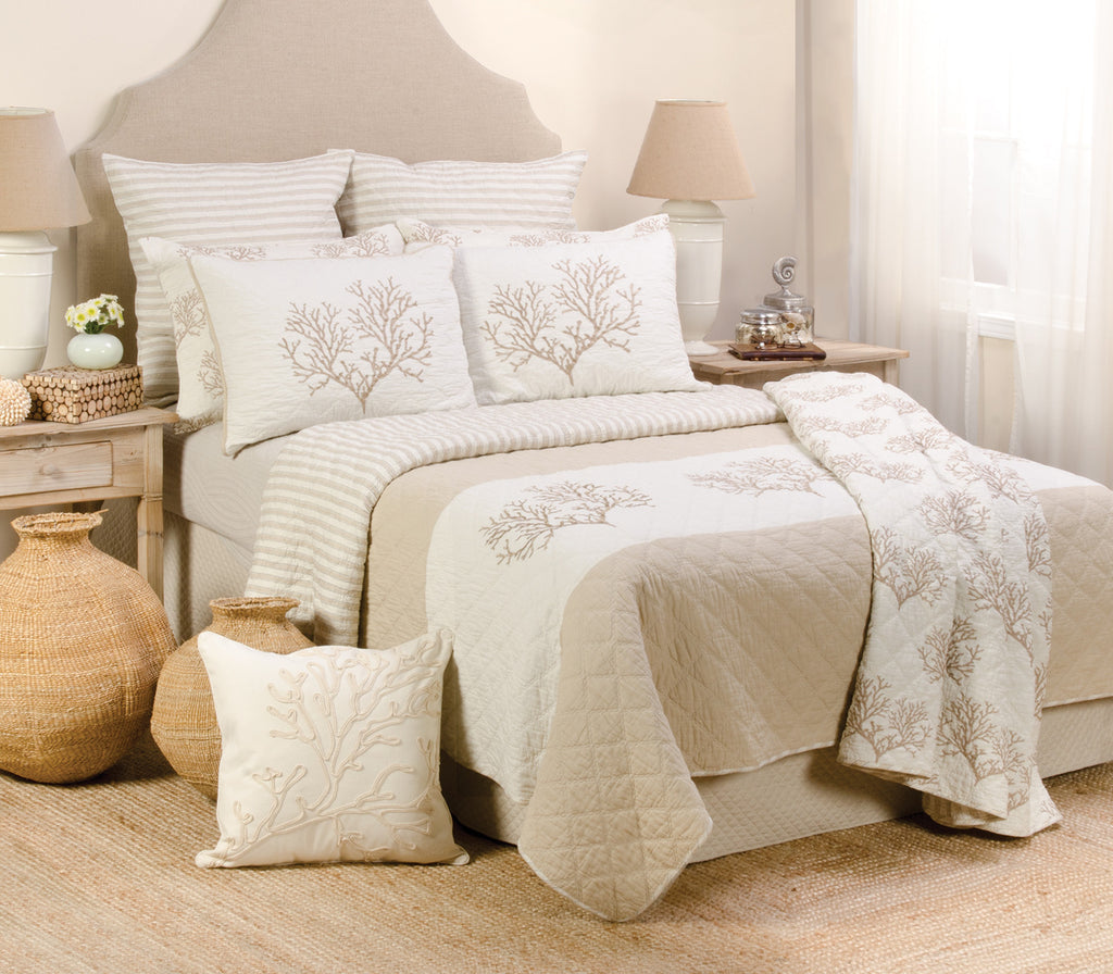 Coral Embroidered Beige Quilt Set