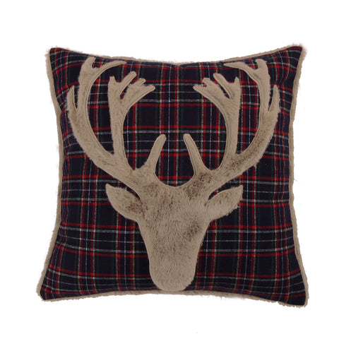 Fur Deer on Navy Plaid Pillow