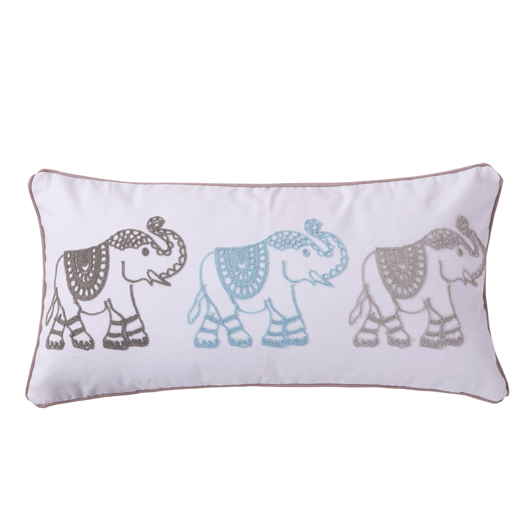 Gramercy Teal Elephants Pillow