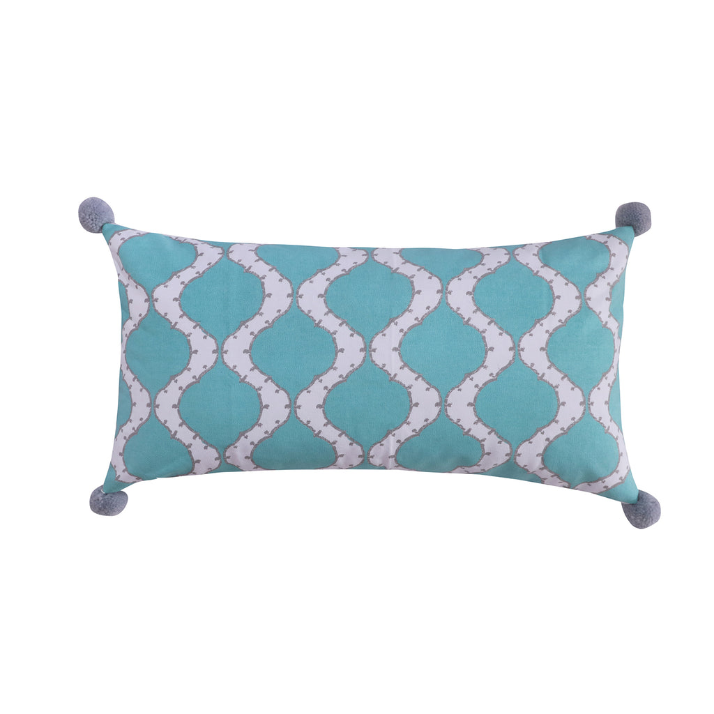 Gramercy Teal Pom Pillow