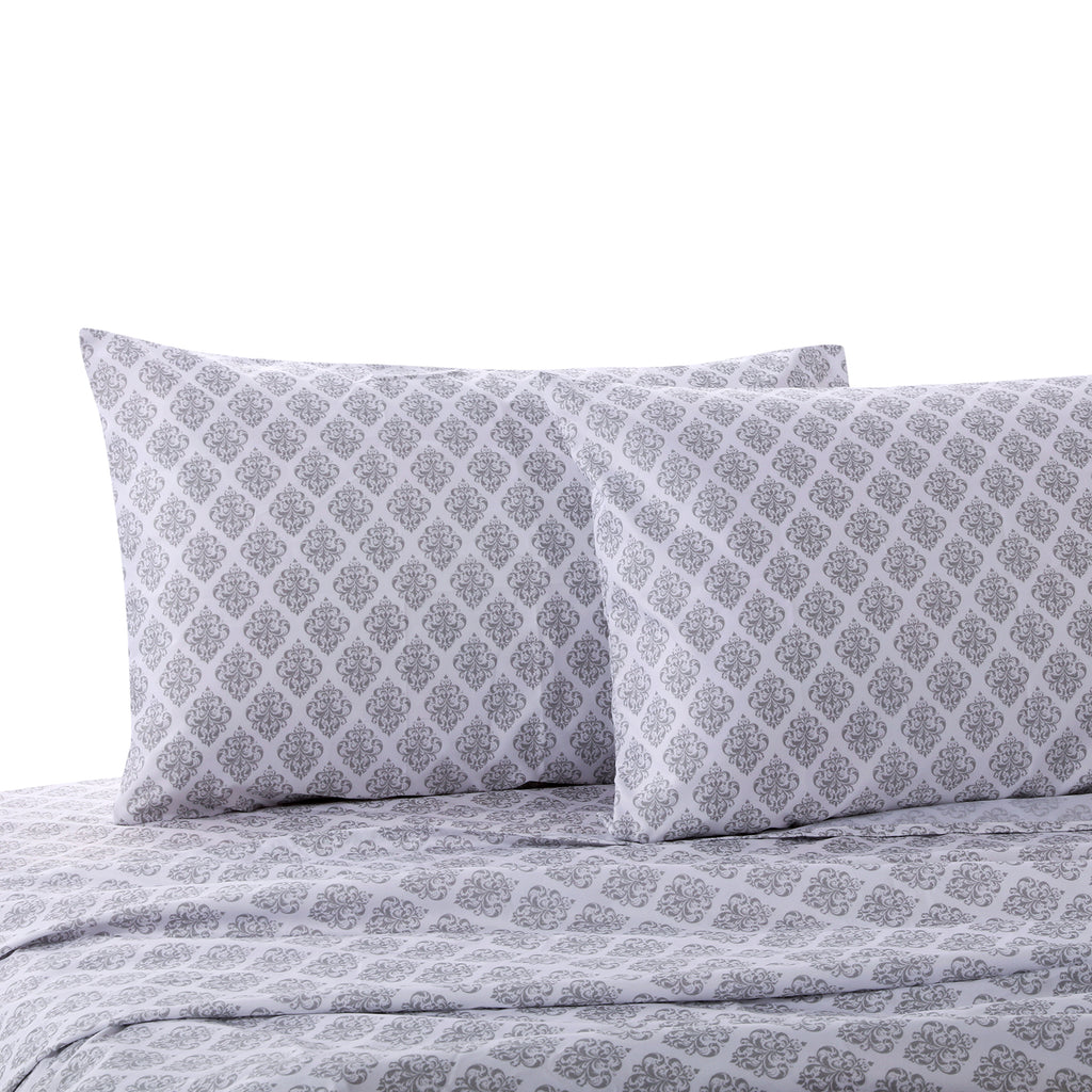 Grey Damask Full Sheet Set
