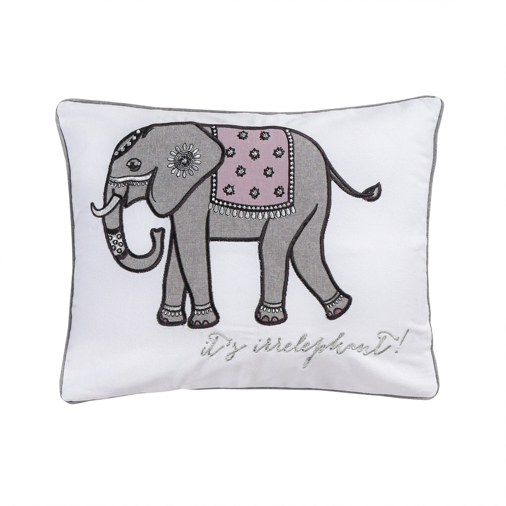 Rachelle  Elephant Emb Pillow