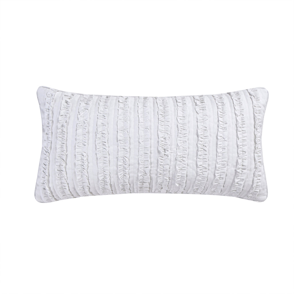 Rachelle White Ruffle Ruched Pillow