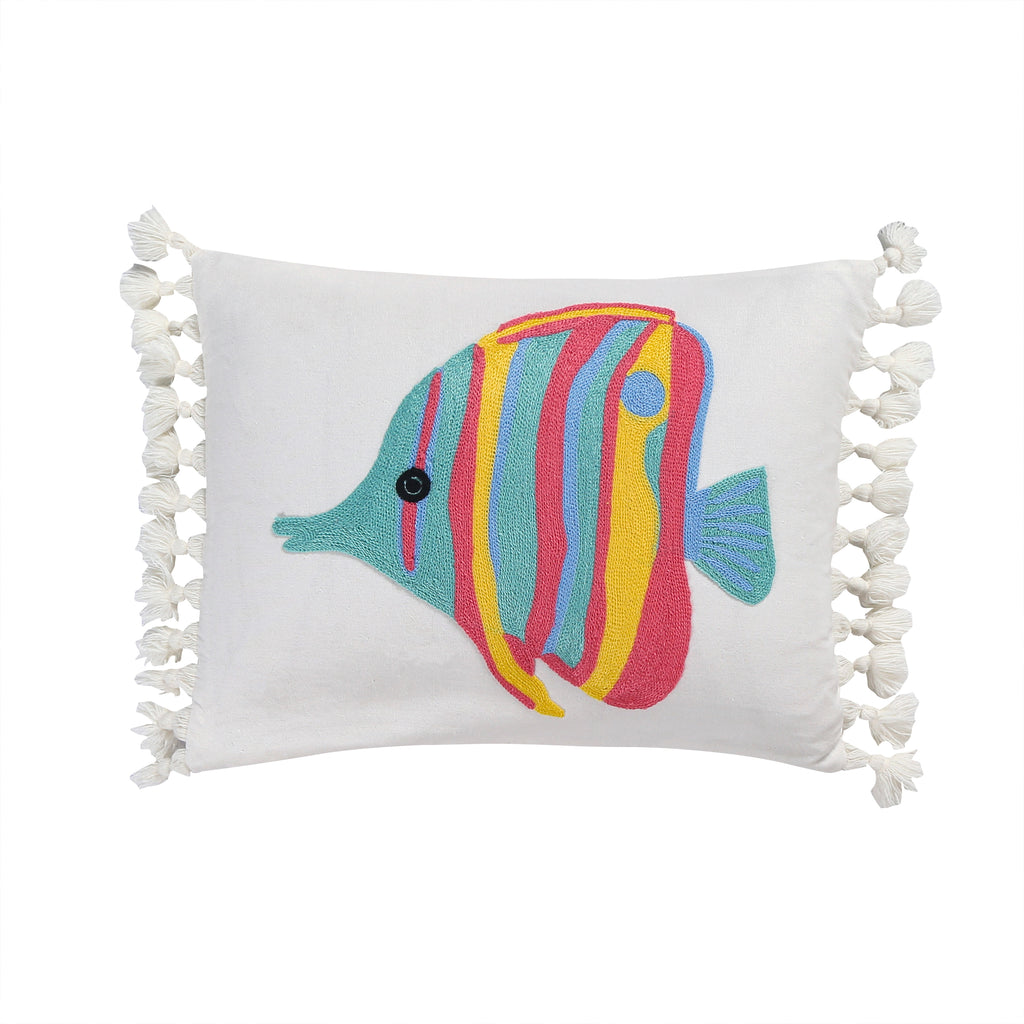 Playa Vista Crewel Fish Pillow