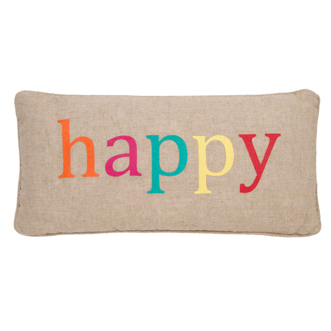 Ariana Happy Multcolored on Burlap Pillow