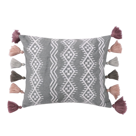 Harrington Embroidered Grey Tassel Pillow