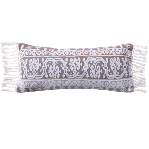 Josie Spa Crewel Embroidered Tassel Trim Pillow