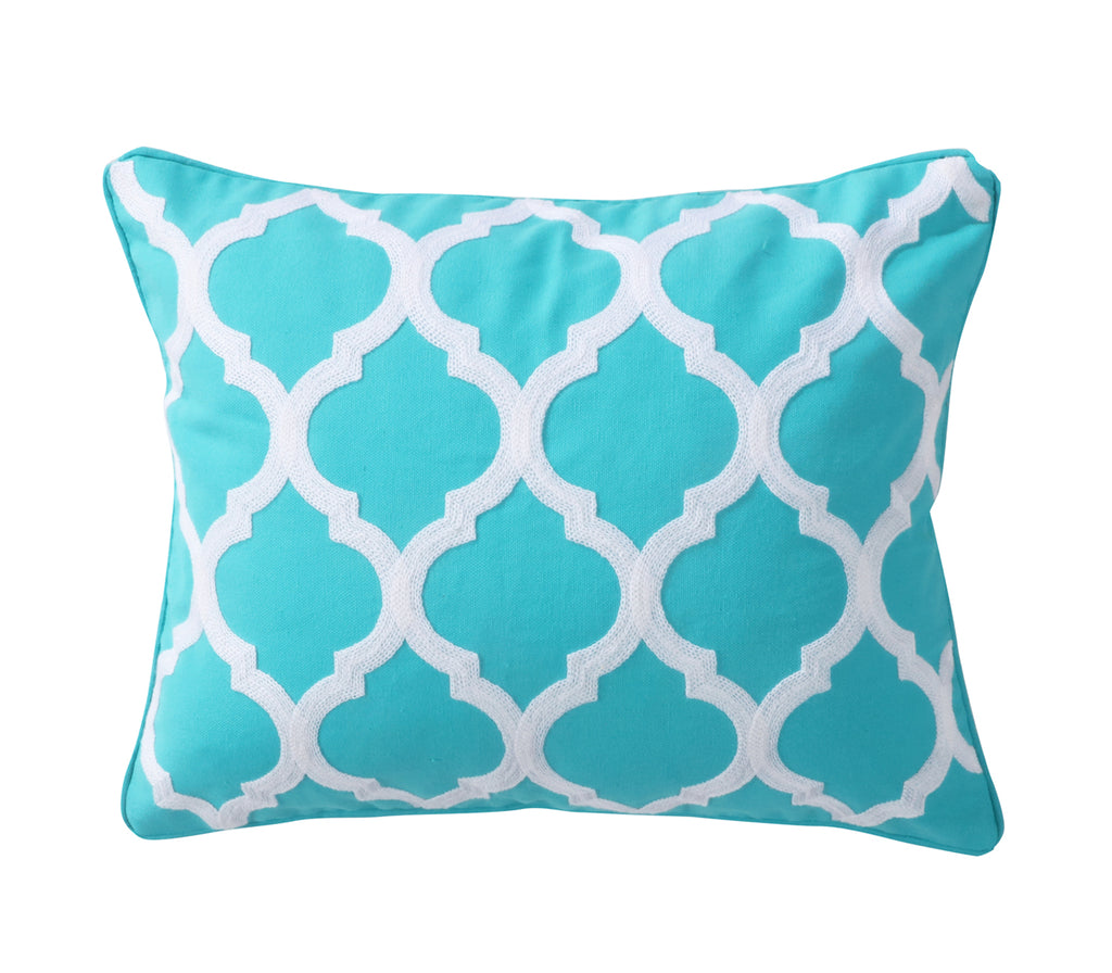 Karola Teal Lattice Pillow