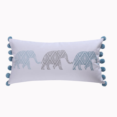 Kavi Elephant Poms Pillow