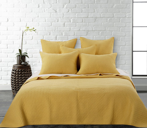 Cross Stitch Yellow Quilt Set