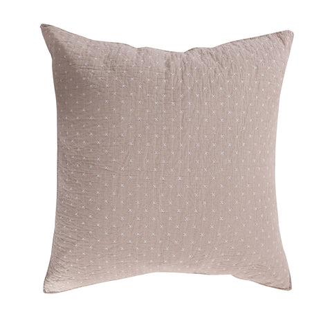 Cross Stitch Taupe Euro Sham Set