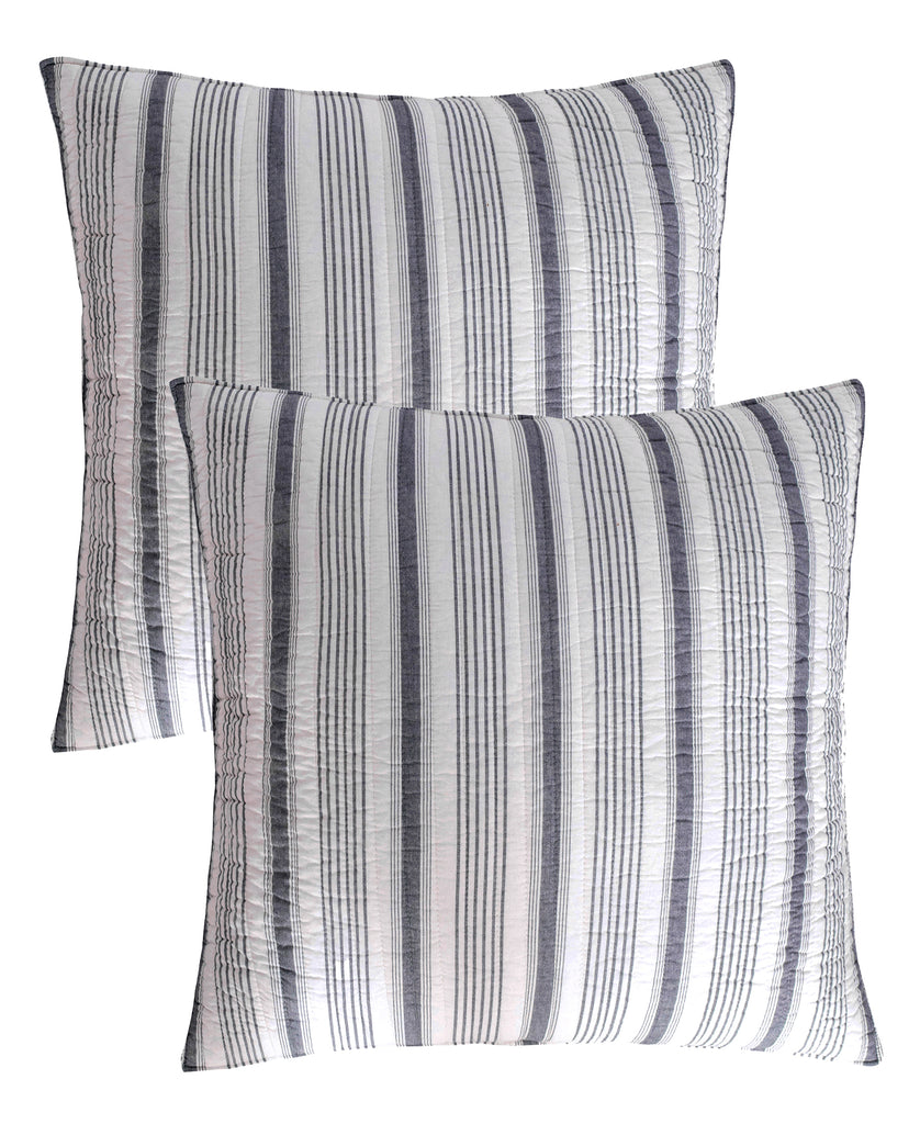 Camden Black Euro Sham Set of 2 - Stripe