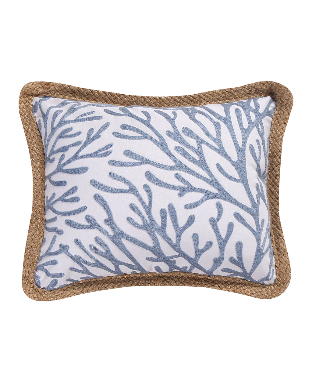 Crete Crewel Canvas Rope Trim Pillow