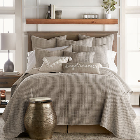 Mills Waffle Taupe Quilt Set