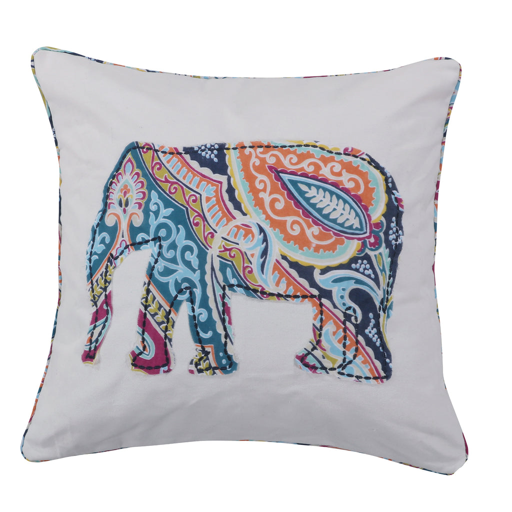 Magnolia Navy Appliqued Elephant Pillow