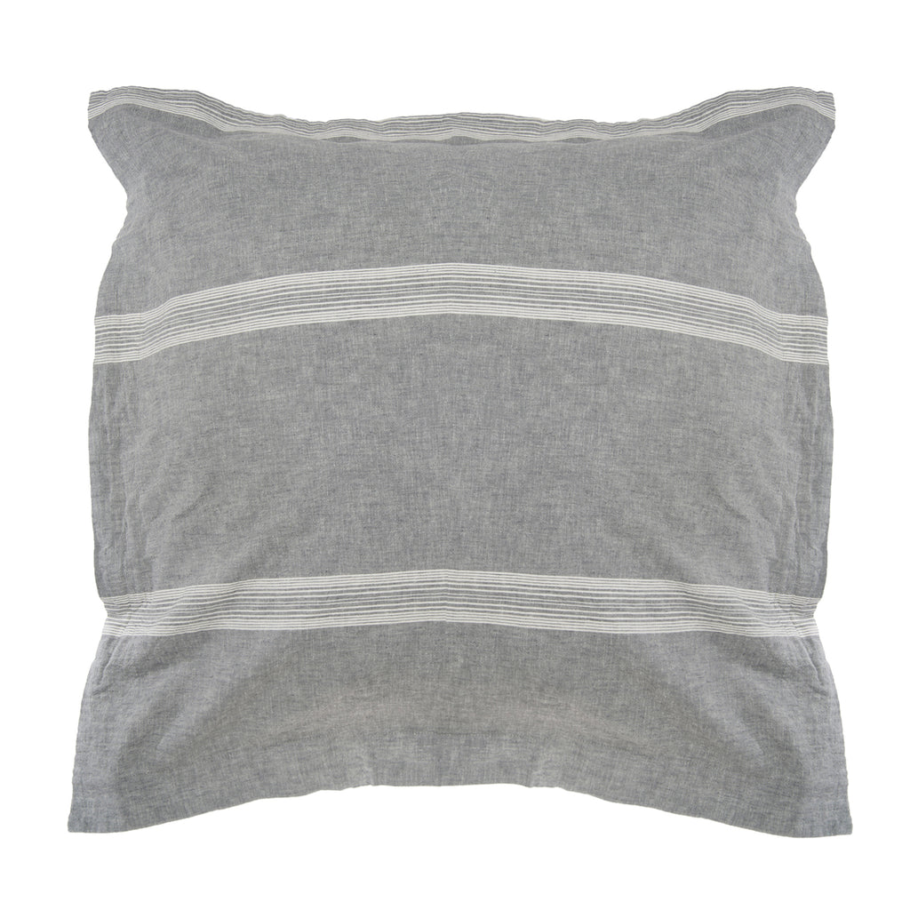 Washed Linen/Cotton Grey Stripe Euro Sham