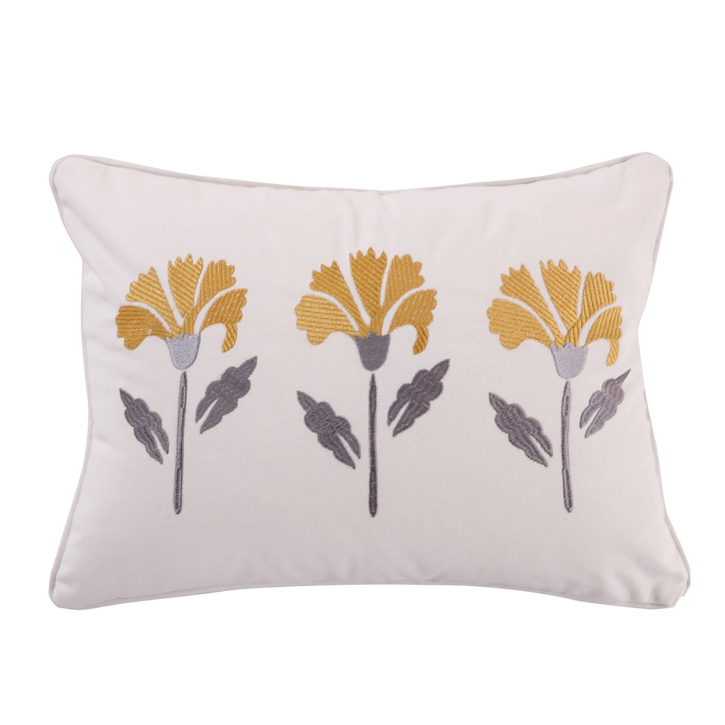 St. Claire Embroidered Flower Pillow