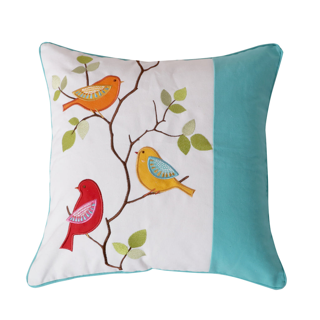 Sophia Pieced Embroidered Bird Pillow