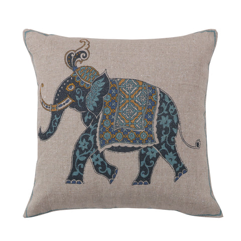 Chandra Elephant Indigo Teal Pillow