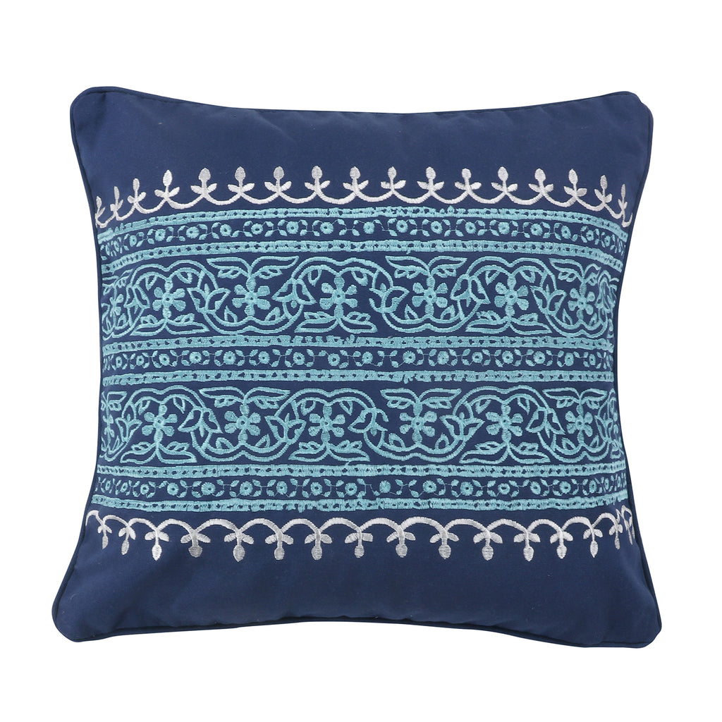 Chandra Indigo Teal Embroidered Pillow