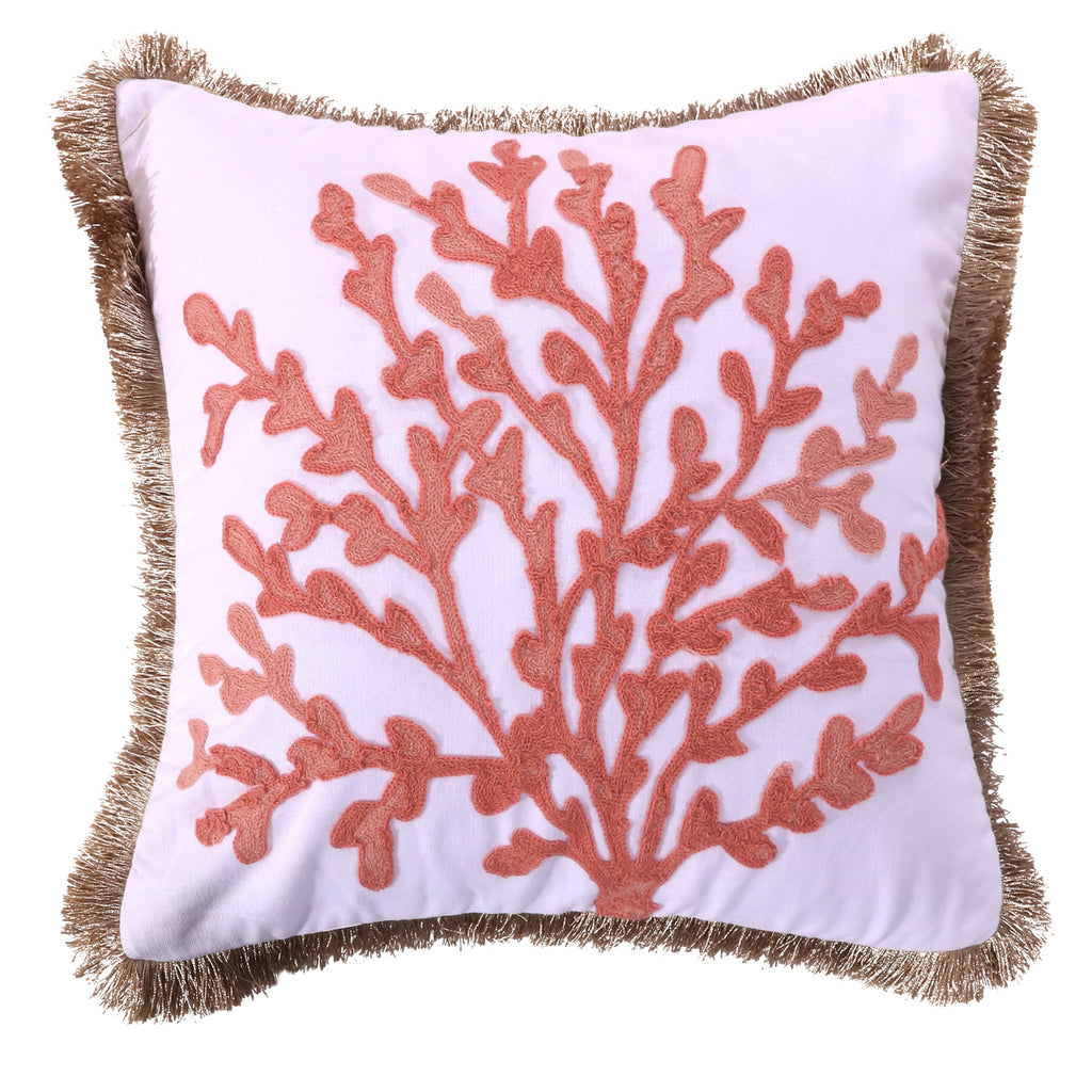 Cape Barren Embroidered Coral Fringe Pillow
